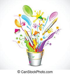 Colorful Holi - illustration of spalsh with Holi object...