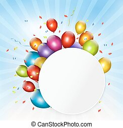 Colorful holiday background with balloons. Vector.