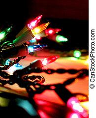 Christmas lights - Colorful holiday Christmas lights closeup
