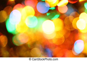 Colorful holiday illumination out of focus, may be used as background