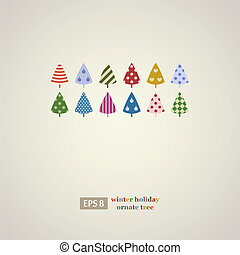 Colorful holidays trees frame.