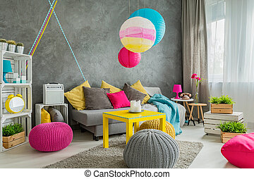 Colorful home decor idea - Spacious living room with modern...