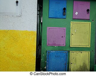 Colorful home gas counter boxes - Italy