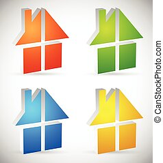 Colorful home, house icon(s), logo(s) to illustrate real estate, construction or related concepts