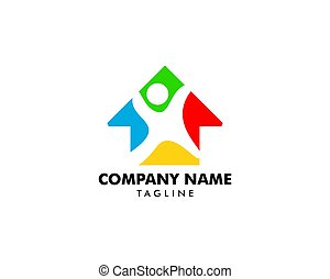 Colorful home with happy kid vector logo design