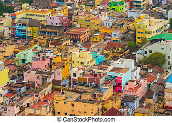 Colorful homes Indian city Trichy, Tamil Nadu
