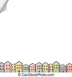Colorful homes on white paper