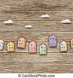 Colorful homes on wooden background
