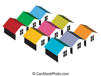 Vector illustration of block of colorful homes