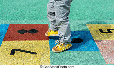 colorful hopscotch game