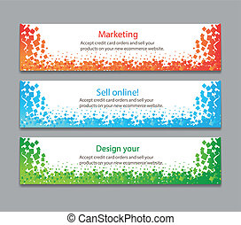 colorful horizontal banners with square motive