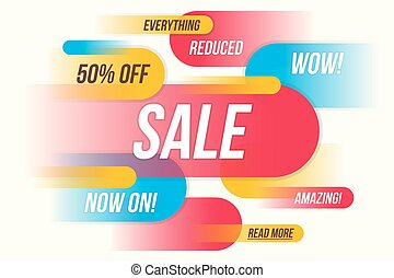 Colorful horizontal fynamic style sale banner design. Vector ill