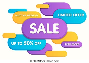 Colorful horizontal sale banner design. Vector illustration.