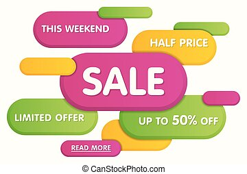 Colorful horizontal sale banner design. Vector illustration.