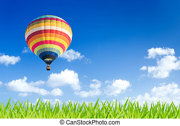 Colorful hot air balloon over green fields