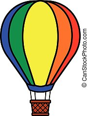 Colorful hot air balloon - Single colorful red, orange,...