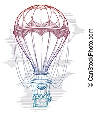 Colorful hot air balloon vintage poster