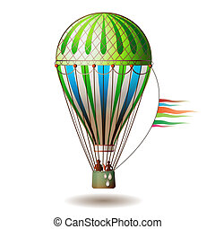 Colorful hot air balloon with silhouettes isolated on white...