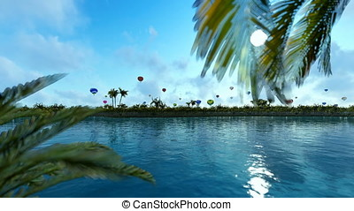 Colorful hot air balloons against blue sky, lake reflections