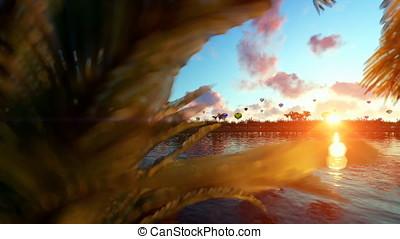 Colorful hot air balloons at sunset, lake reflections,...