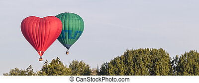 Colorful hot-air balloons flying over the forest, banner