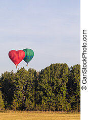 Colorful hot-air balloons flying over the forest