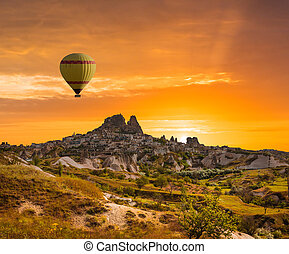 Colorful hot air balloons over valley Cappadocia