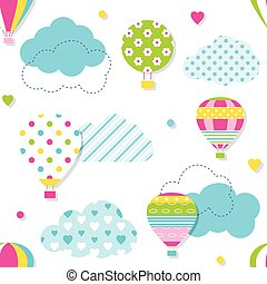 colorful hot air balloons pattern