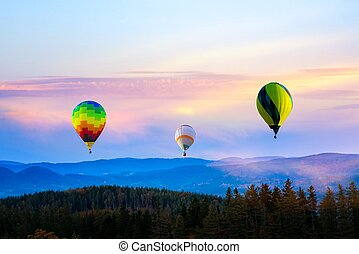 Colorful hot-air balloons . to look in a bottom . Balloon The adventure