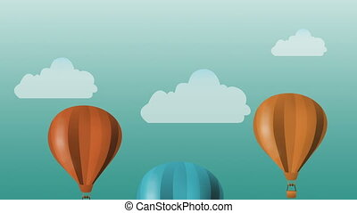 Colorful hot air baloons flying - animation - Colorful hot...