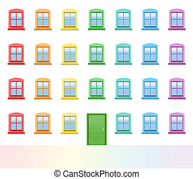 Colorful House Front Doors Windows