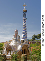 Antonio Gaudi Parc Guell, Barcelona, Spain - Colorful house...