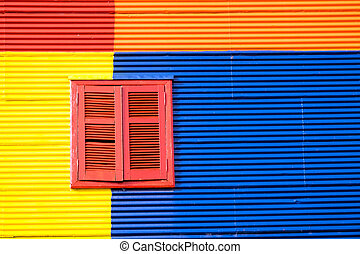 Colorful house in La Boca, Buenos Aires - Detail of a...