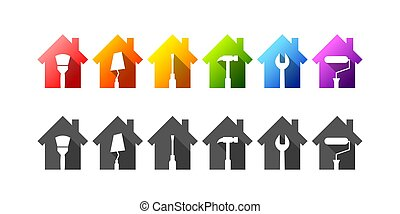 Colorful house set with work tools as repair or building related concept