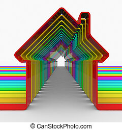Colorful house shapes.