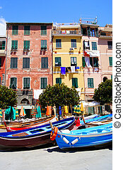 Colorful houses and boats, Italy