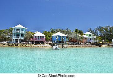 Colorful houses at Exuma Cays, Bahamas