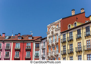 Colorful houses at the Plaza Mayor square in Burgos
