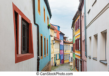 colorful houses in an alley of the old town of Bamberg, Germany