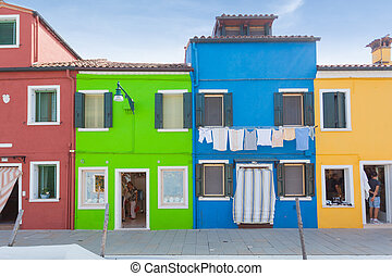 Colorful houses in Burano, Venice, Italy - Rectilinear view ...
