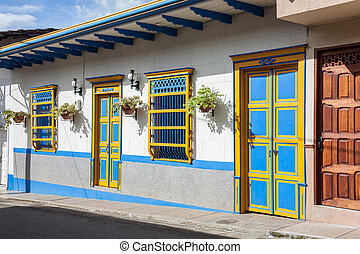 Colorful houses in colonial city Jardin, Antoquia, Colombia,...