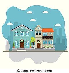 colorful houses in neighborhood