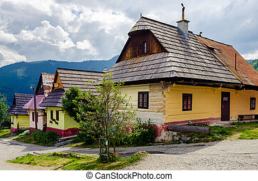Colorful houses in old traditional village Vlkolinec, Slovakia