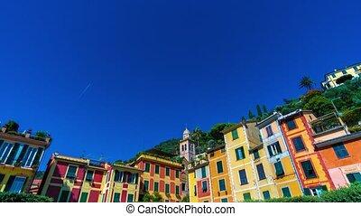 Colorful houses in Portofino in a sunny day, Liguria, Italy