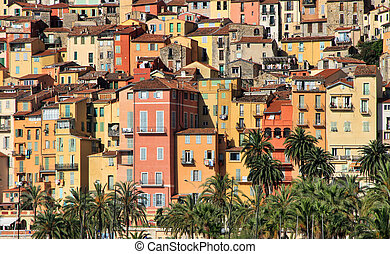 Colorful houses in Provence village of Menton on the french Riviera in the South of France near Monaco