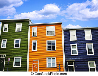 Colorful houses in St. John\'s - Colorful houses on hill in...
