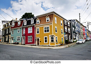 Colorful houses in St. John\'s - Colorful houses on street...