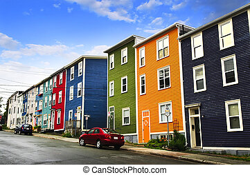 Colorful houses in St. John's - Street with colorful houses ...