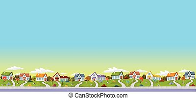 Colorful houses in suburb neighborhood. Green park landscape...