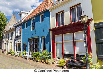 Colorful houses in the historic center of Doesburg